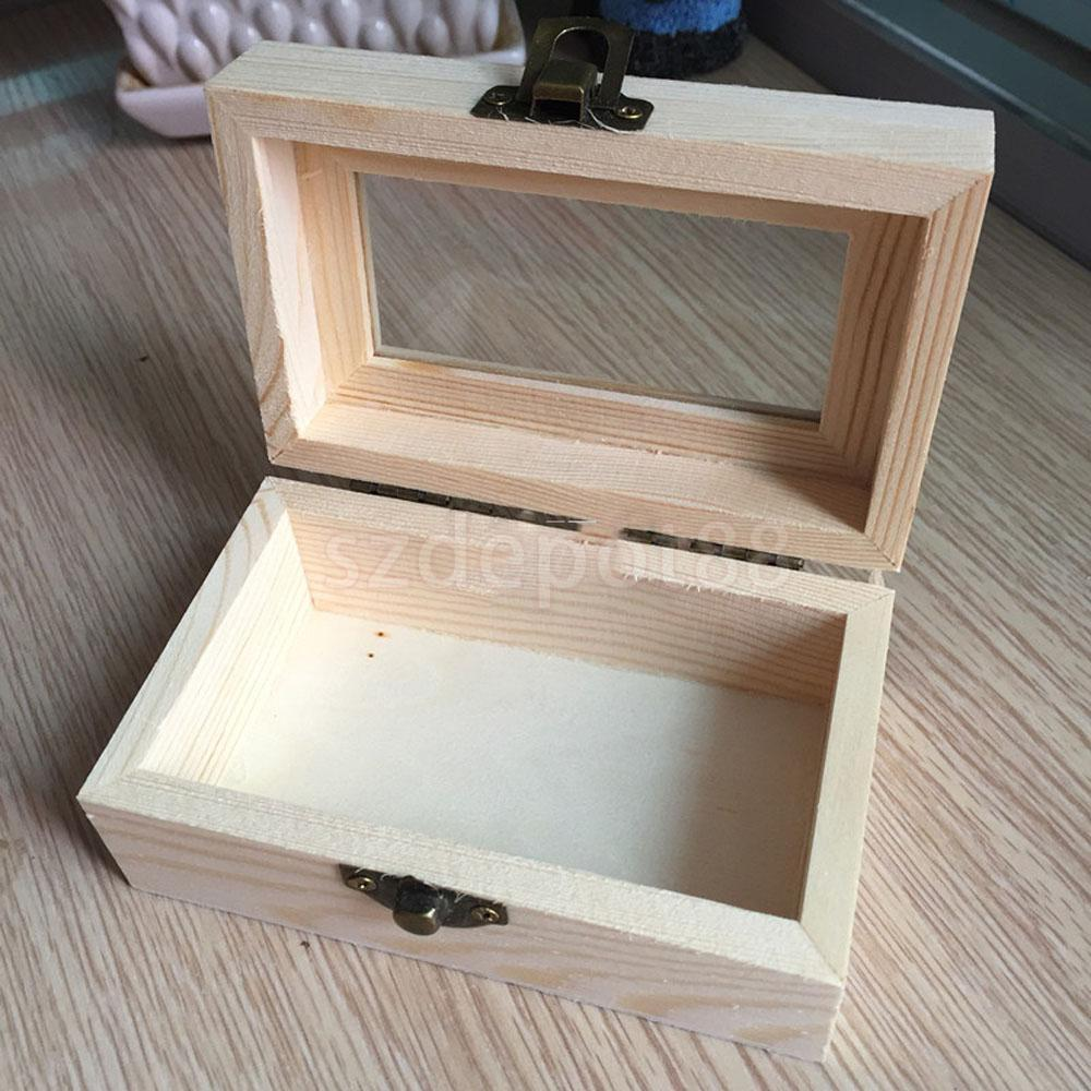 Plain Unpainted Wood Jewelry Storage Box Glass Lid Chest
