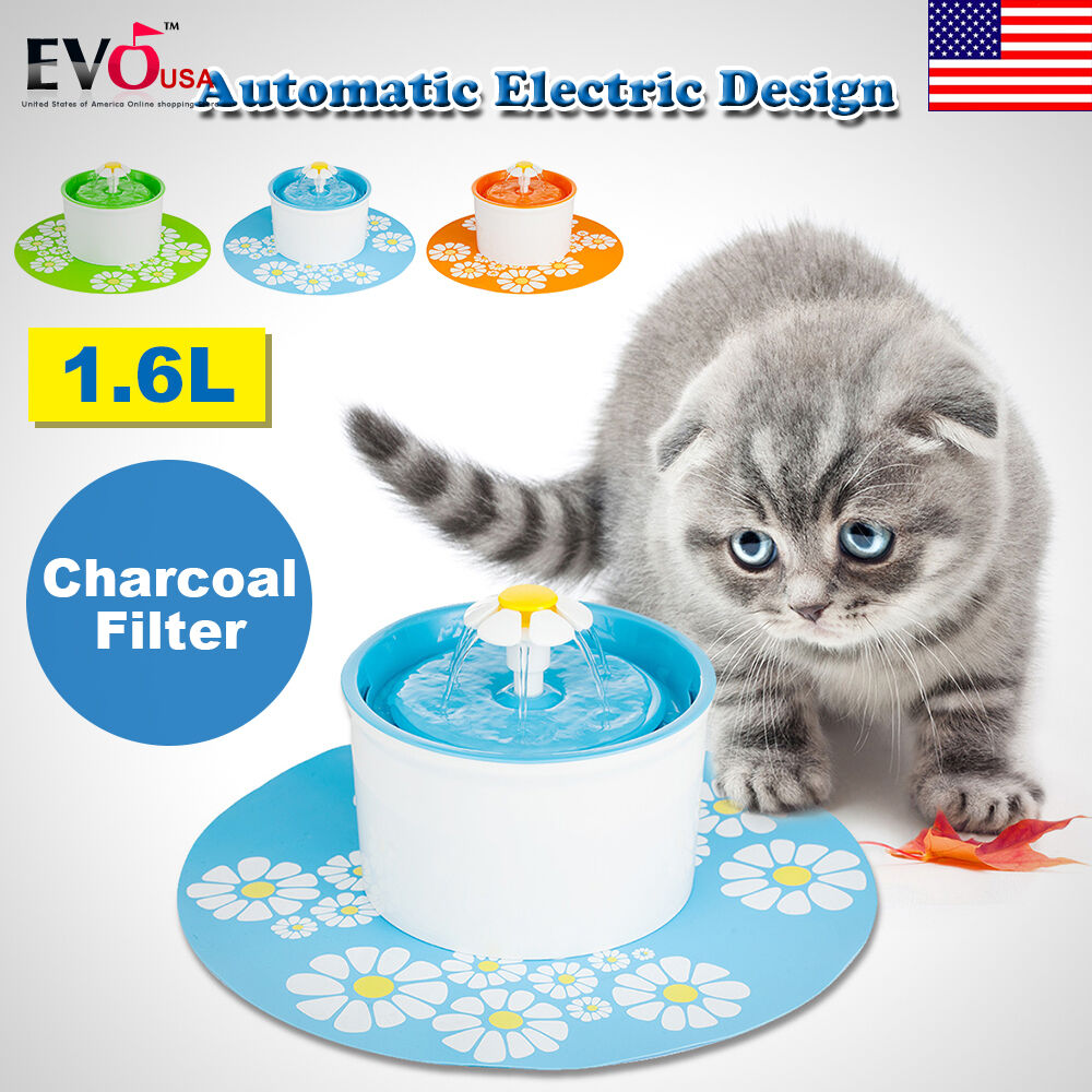 automatic electric 1 6l pet water fountain dog cat. Black Bedroom Furniture Sets. Home Design Ideas