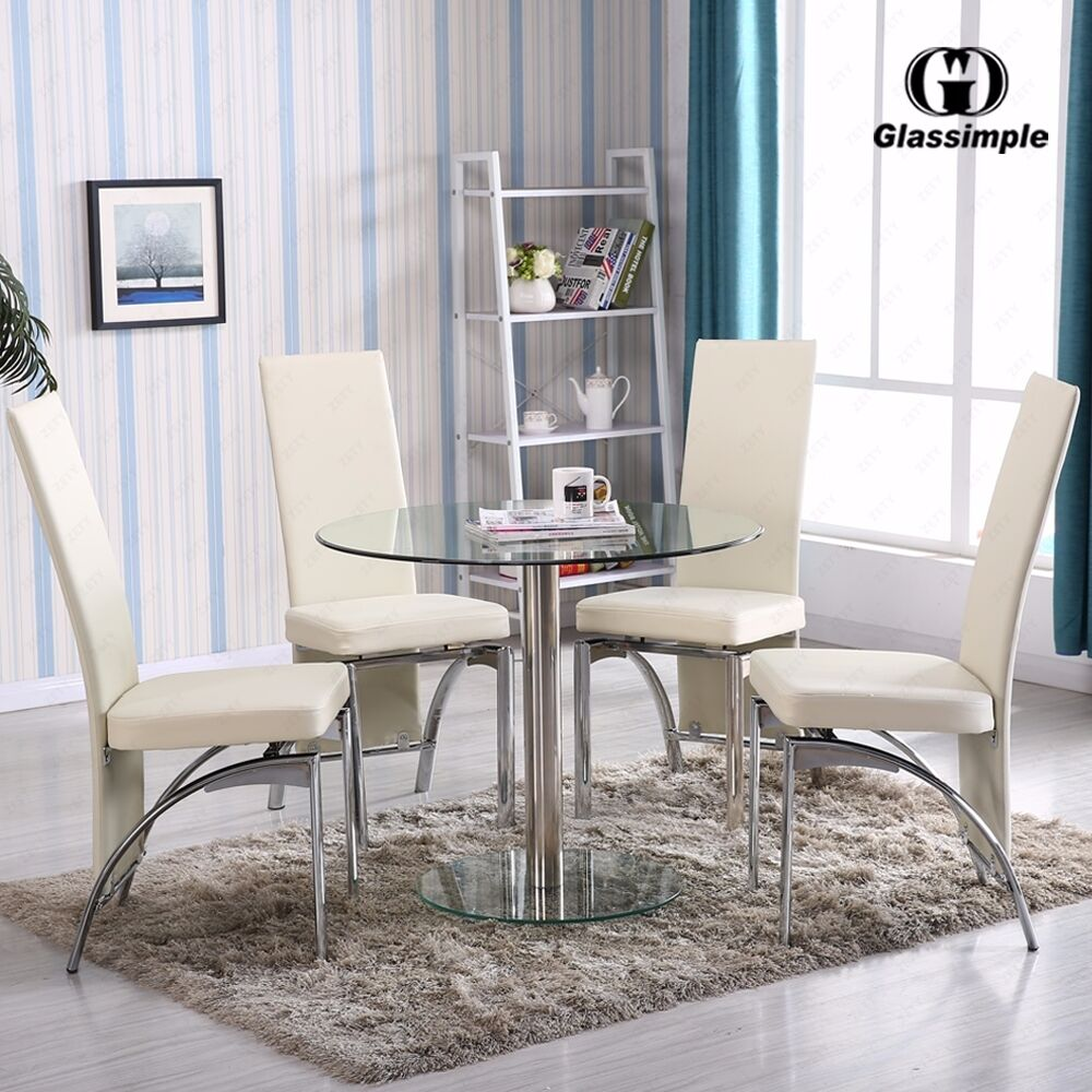 5 piece dining table set round glass 4 chairs kitchen room for Glass dining room table set