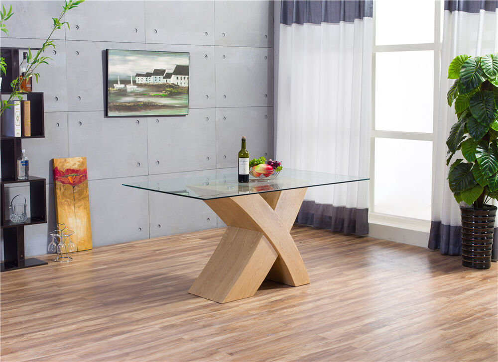 MILANO X Wood Effect OAK Glass Dining Table Set 6 Chairs  : s l1000 from www.ebay.co.uk size 1000 x 728 jpeg 120kB