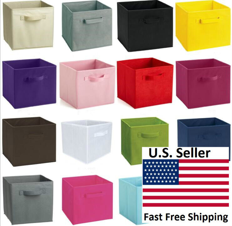 collapsible fabric storage bin cube set of 1 2 kids room toy home organization ebay. Black Bedroom Furniture Sets. Home Design Ideas