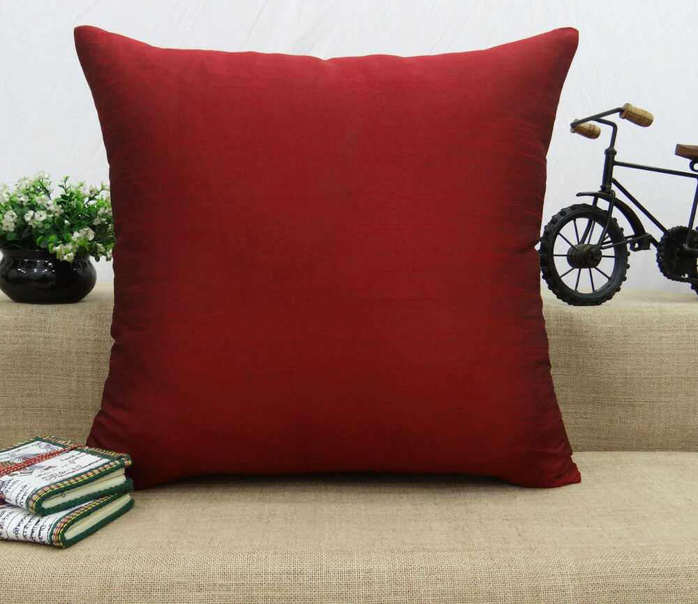 Home Bed Decor Dupion Silk Solid Pillow Throw Cushion