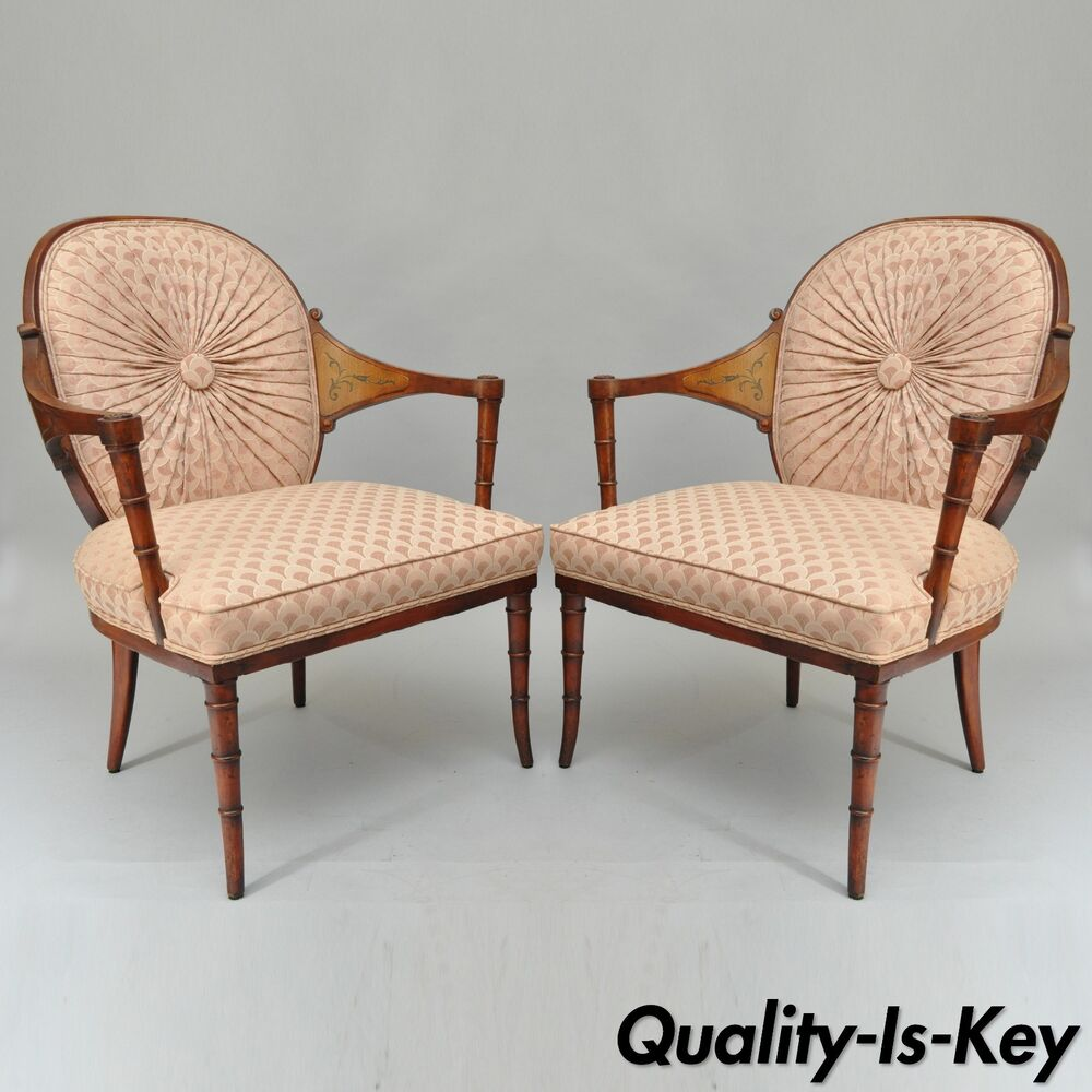 Bamboo Chair With Arms: Pair Of Vintage Faux Bamboo Hollywood Regency Pink