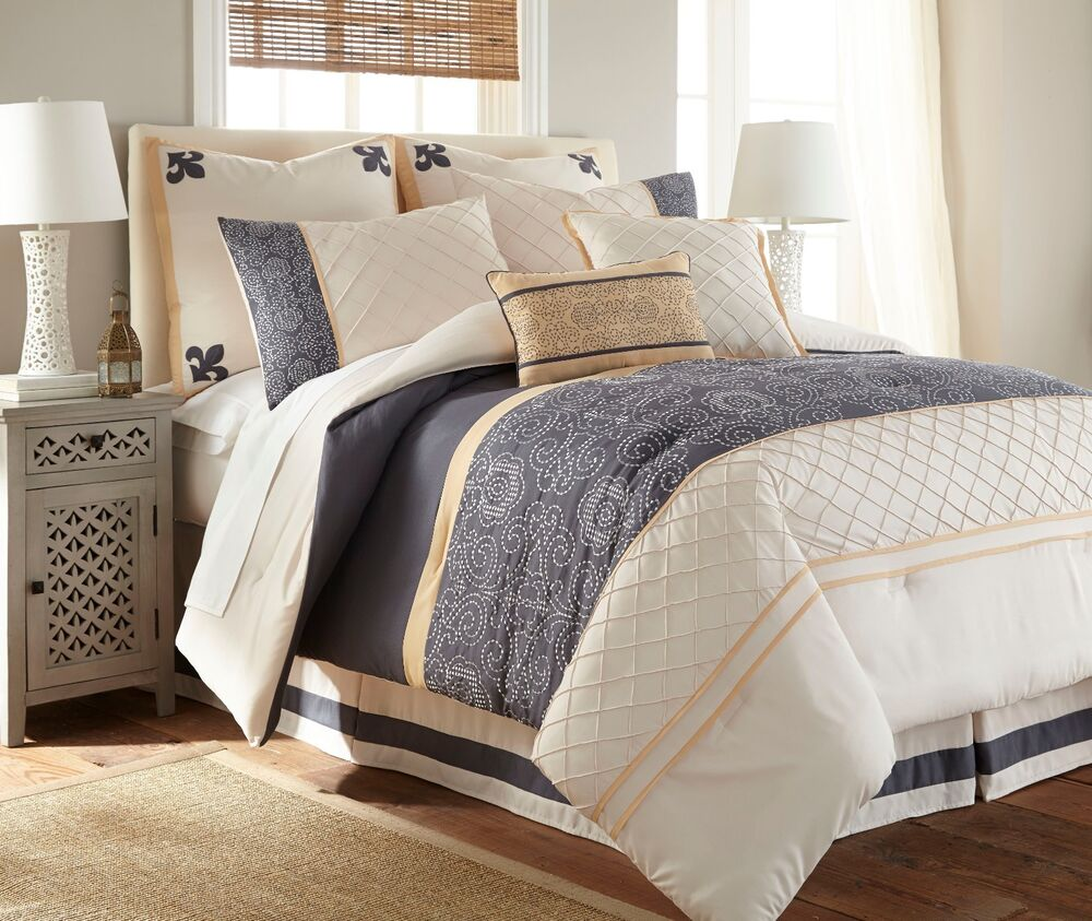 king 8 piece queen size comforter microfiber set bedding bedroom bed in a bag ebay. Black Bedroom Furniture Sets. Home Design Ideas