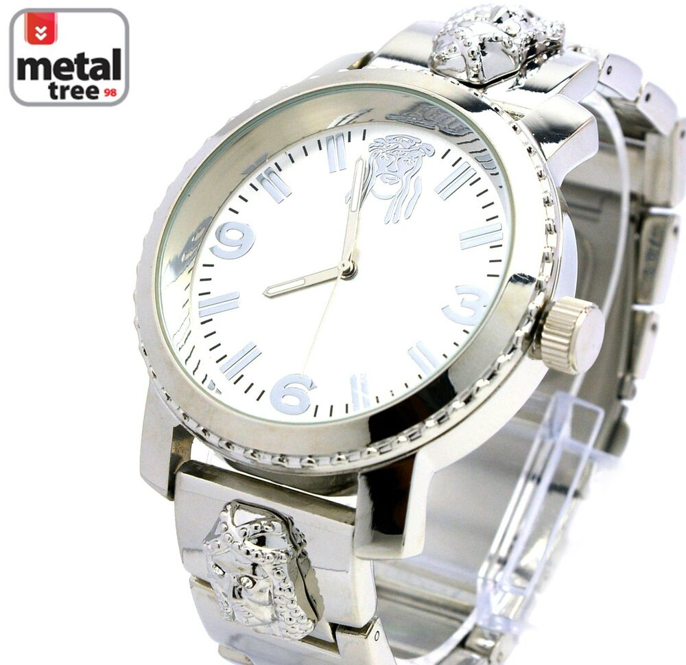 Men 39 s hip hop silver plated metal band techno pave rapper for Rapper watches