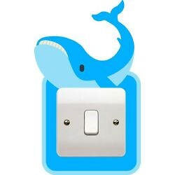 SR39 WHALE STICKER PLUG LIGHT SWITCH SURROUND WALL decal COVER OCEAN FISH KIDS