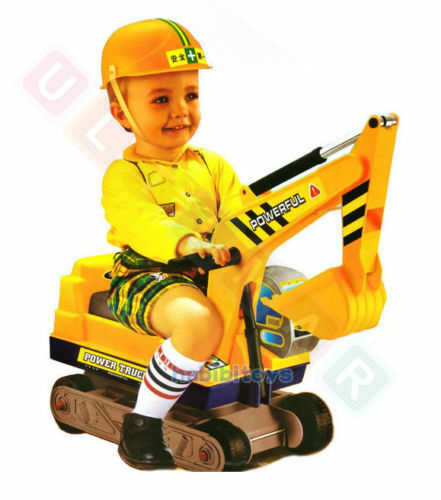 Digger Toys For Boys : Kids ride on excavator digger jcb toy with helmet new