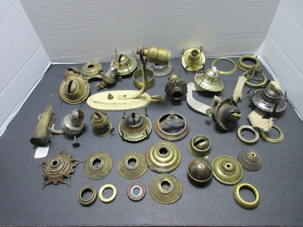 lot antique lamp wick burners parts and repair vintage 87993