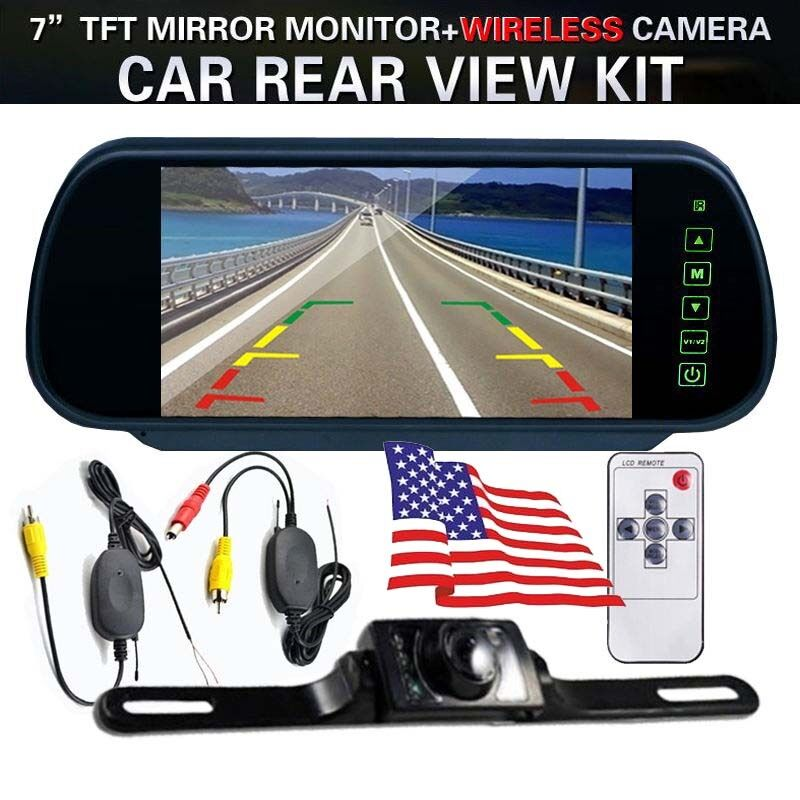 7 tft lcd mirror monitor wireless backup camera night vision rear view system ebay. Black Bedroom Furniture Sets. Home Design Ideas