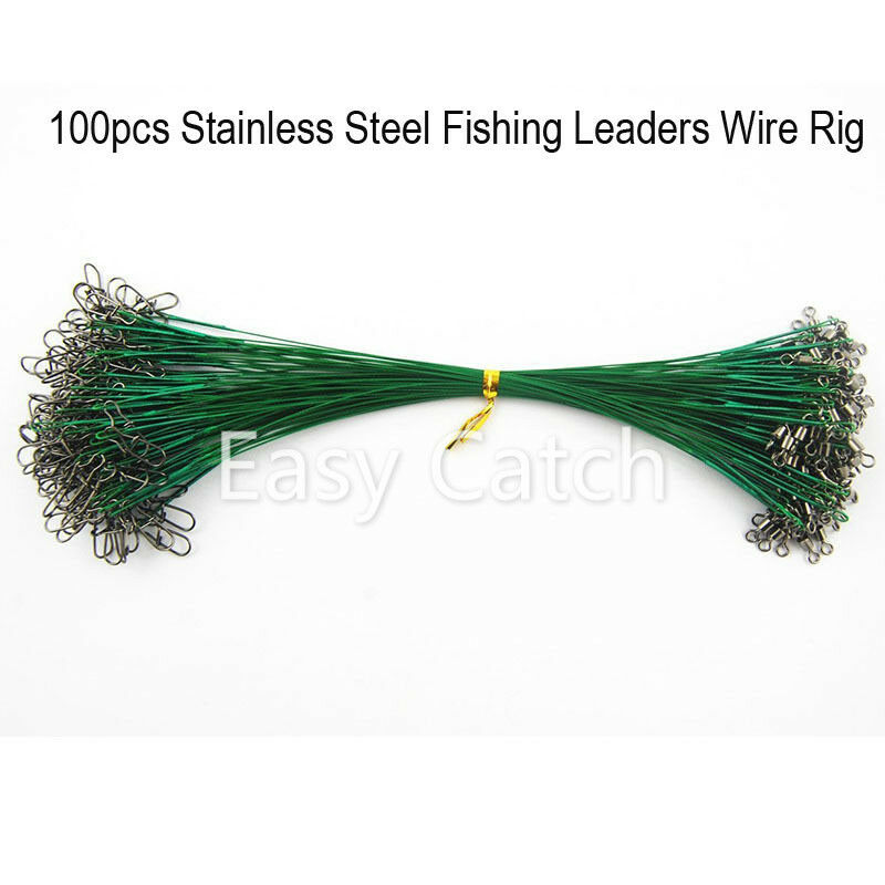 100pcs stainless steel fishing leader wire rig with snap for Steel fishing leader