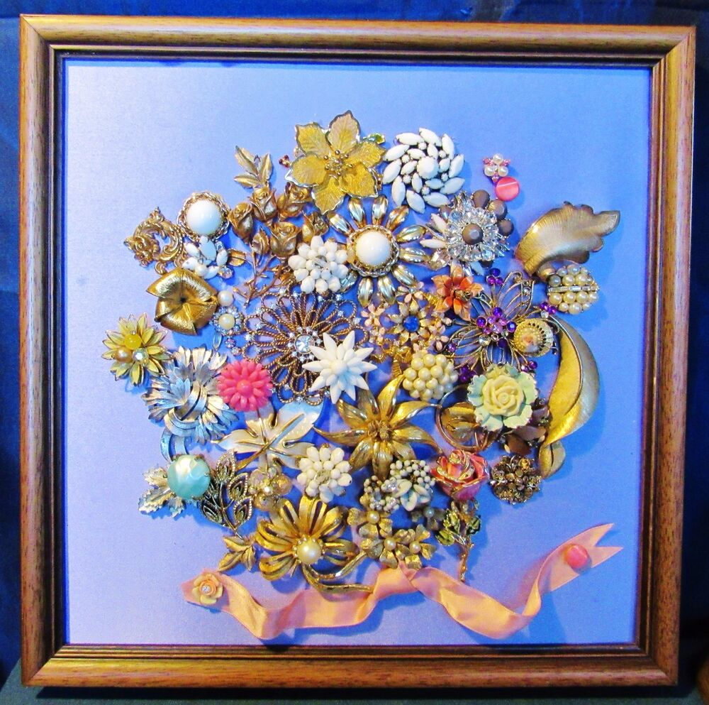 Vintage jewelry floral bouquet ooak christmas tree framed