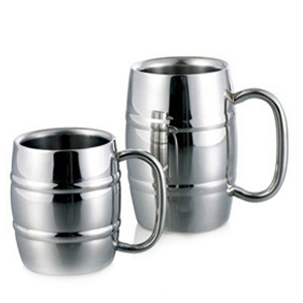 metal drinkwware stainless steel cup for beer coffee tea mug double wall bamboo ebay. Black Bedroom Furniture Sets. Home Design Ideas