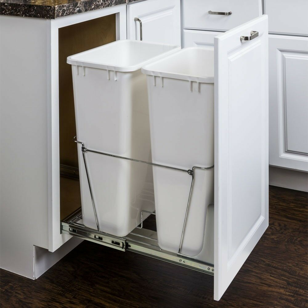 Details About Chrome 50 Quart Double Kitchen Cabinet Pullout Garbage Trash Container System