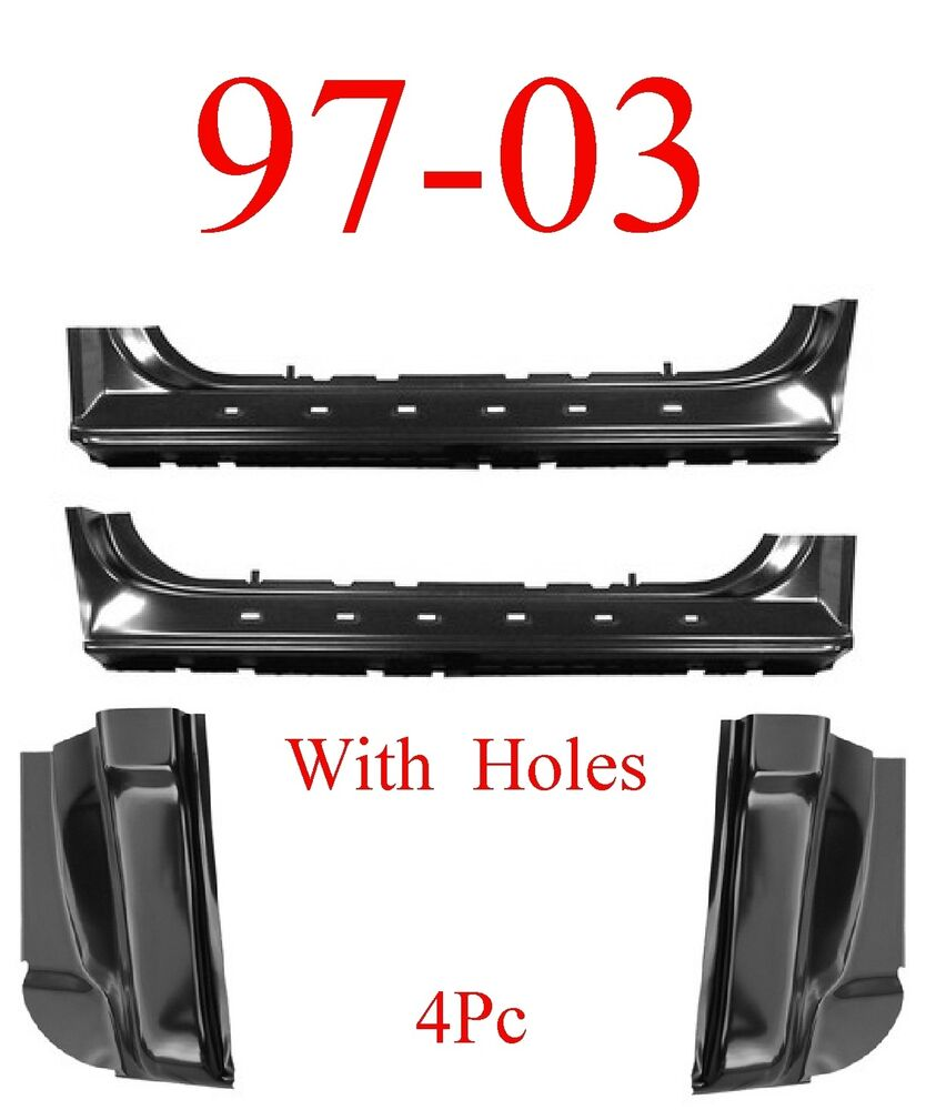 97 03 Ford 4pc Extended Rocker Amp Cab Corner Kit With