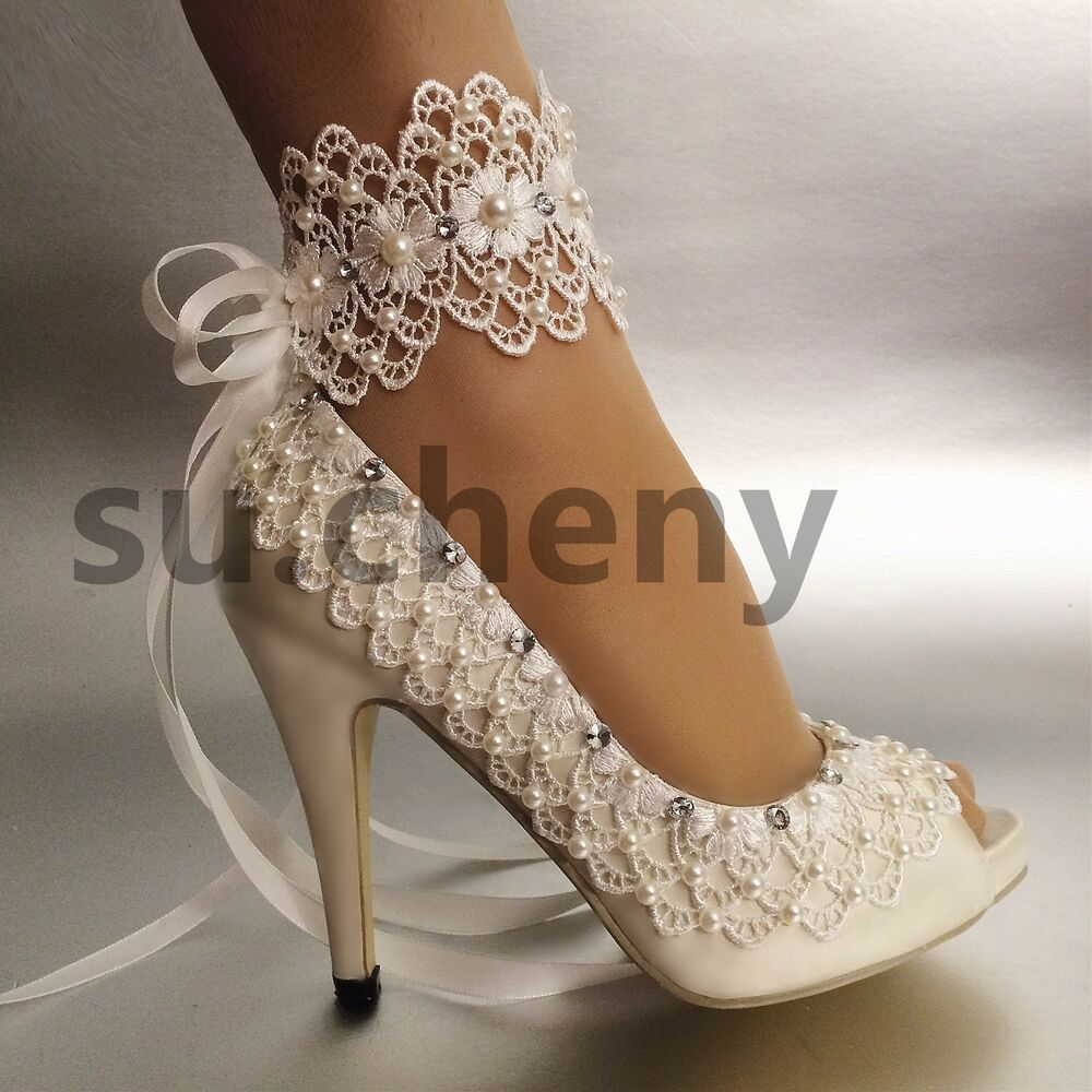 "3 4 Heel White Ivory Satin Lace Ribbon Open Toe Wedding: Su.cheny Open Toe 3"" 4"" Heel Satin White Ivory Lace Anklet"