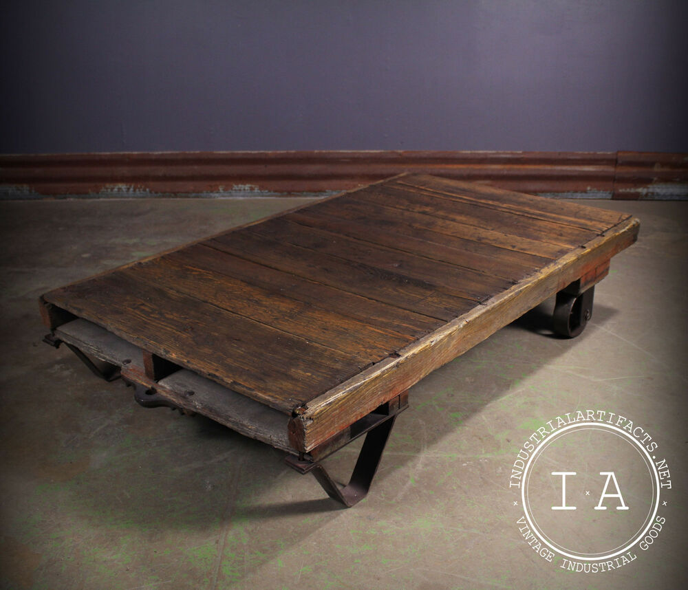 Old Industrial Cart Coffee Table: Vintage Industrial Wooden Factory Cart Rolling Coffee
