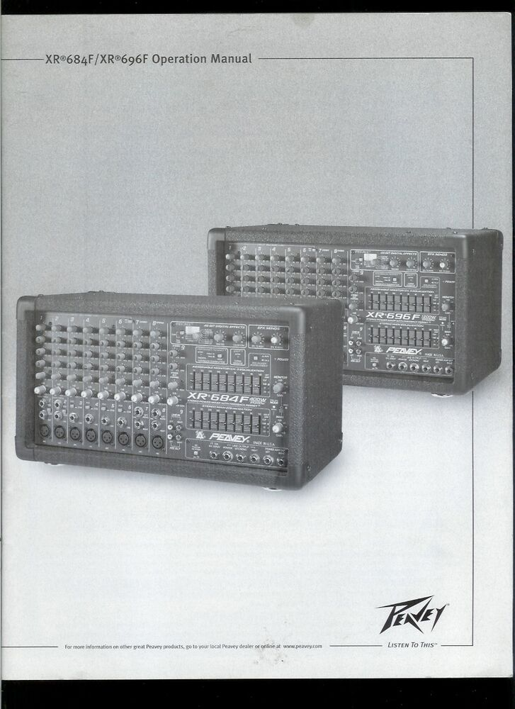 Peavey original operation manual for xr 684f / xr 696f | reverb.