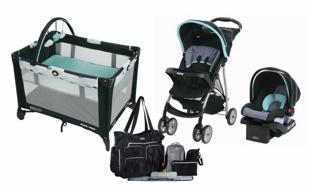graco baby stroller car seat travel system portable care center diaper bag new ebay. Black Bedroom Furniture Sets. Home Design Ideas