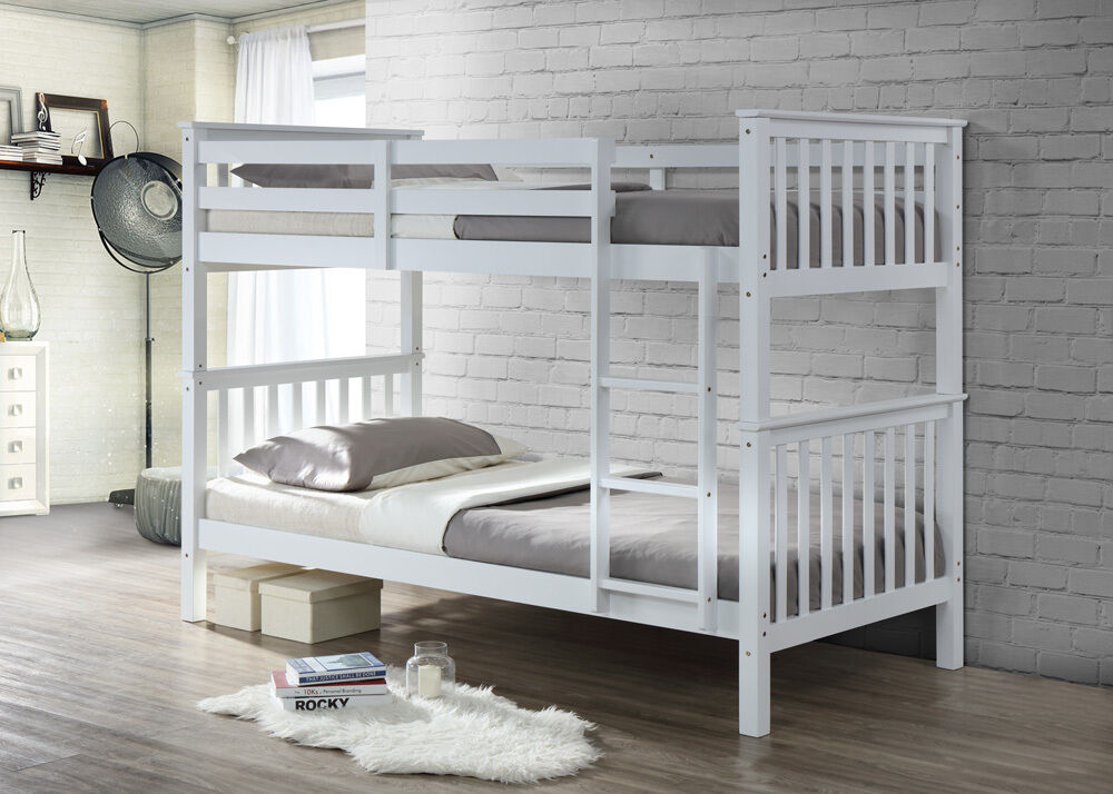 bunkbed in white solid white pine wood twin bunk bed frame. Black Bedroom Furniture Sets. Home Design Ideas