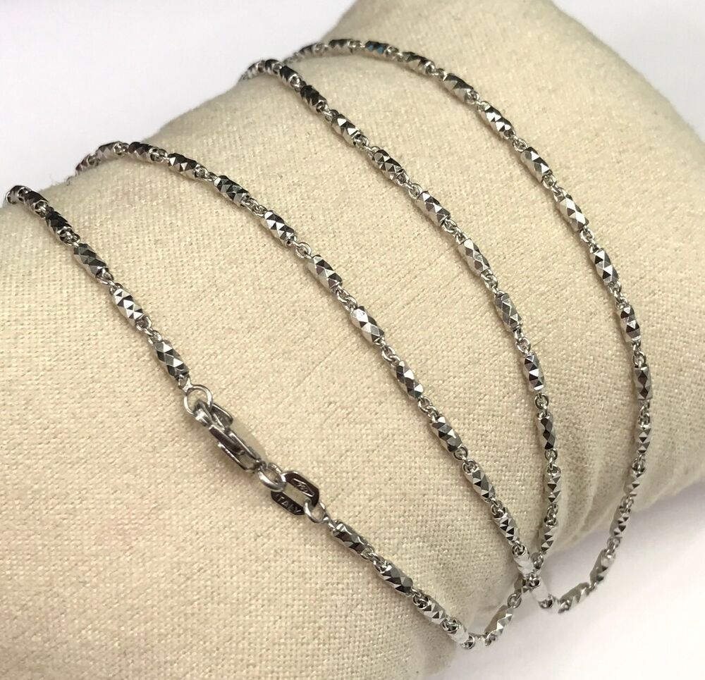 White Gold Chain Bracelet: 18k Solid White Gold Italian Beaded Chain Necklace
