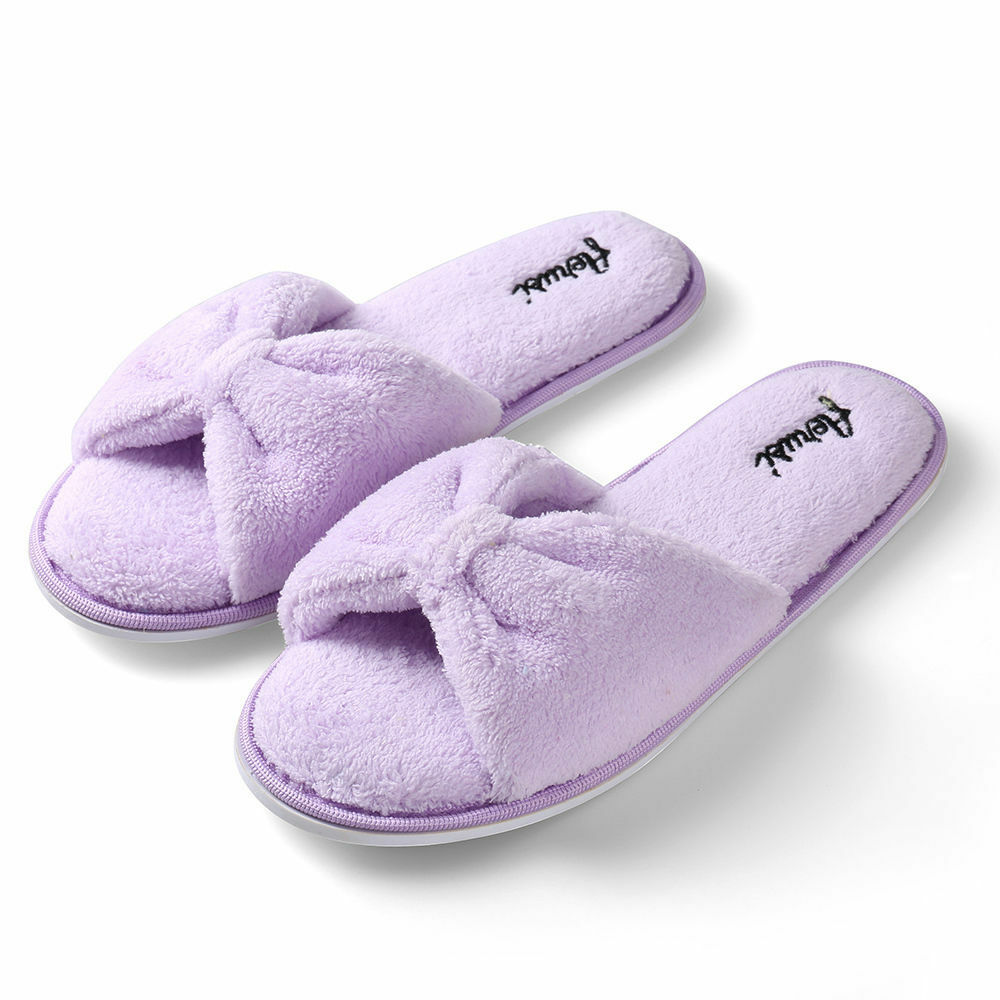 purple women s open toe bowknot plush spa slipper indoor 13874 | s l1000