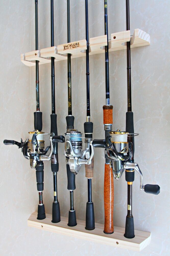 Hand Made Wooden Fishing Rod Racks Wall Type Of 6
