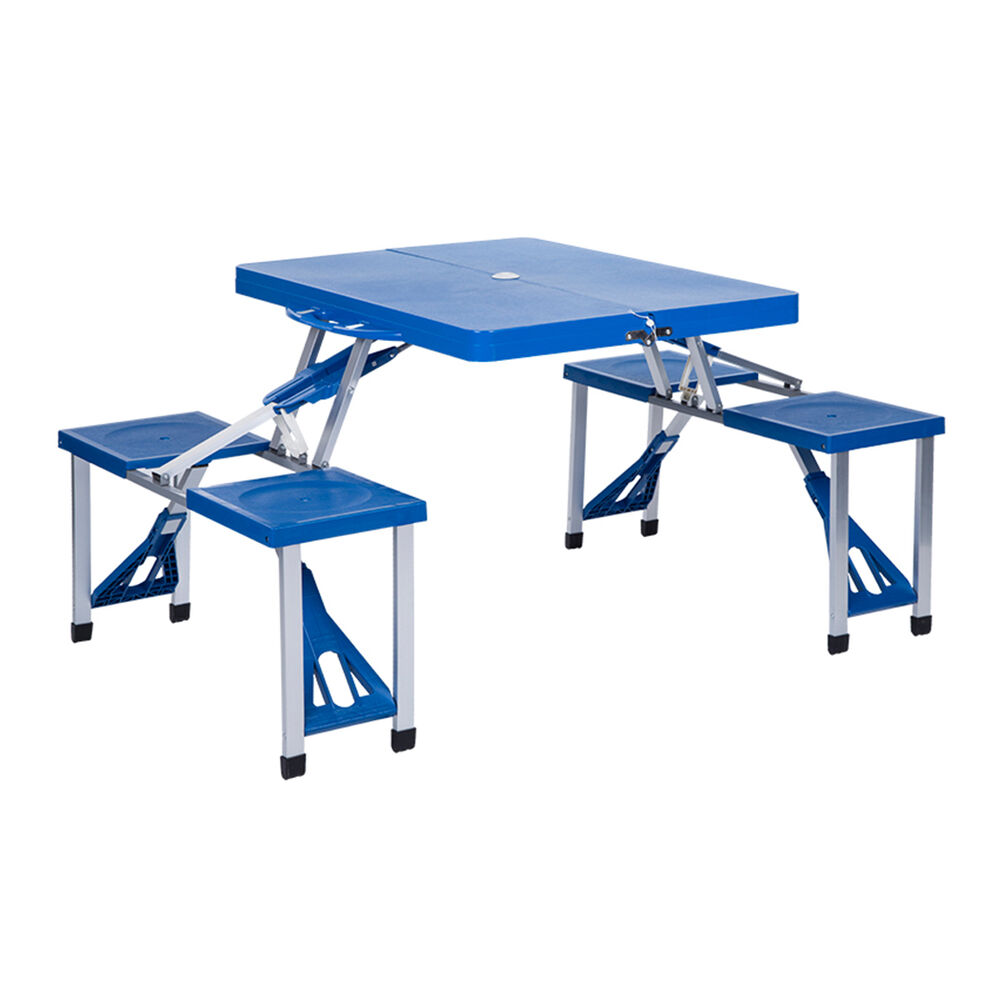 Portable Folding Durable Picnic Table 4 Chairs Camping