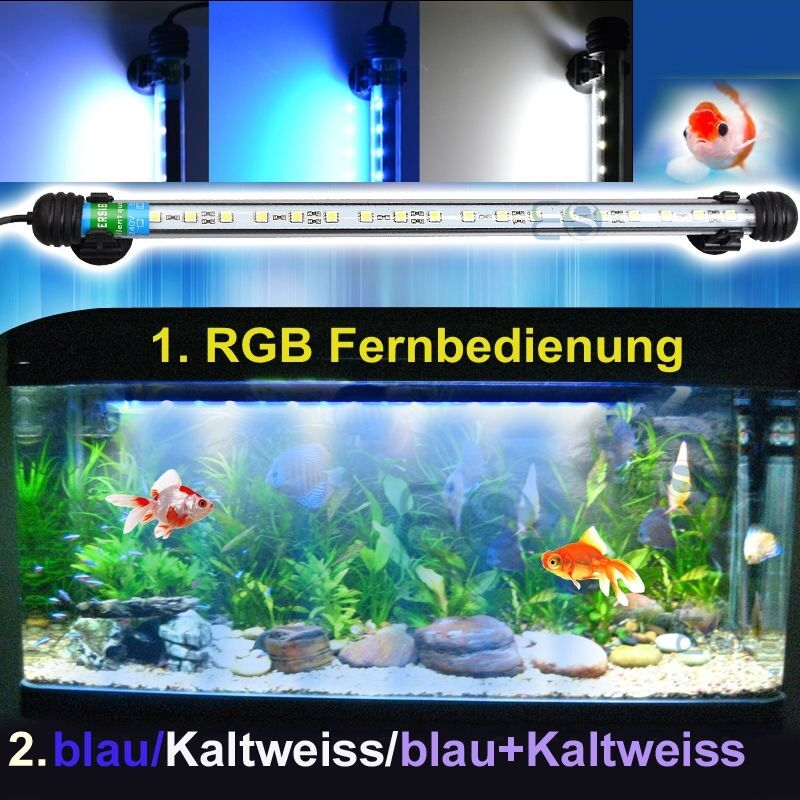 aquarium beleuchtung led fernbedienung wasserdicht lampe kaltweiss blau blau rgb ebay. Black Bedroom Furniture Sets. Home Design Ideas