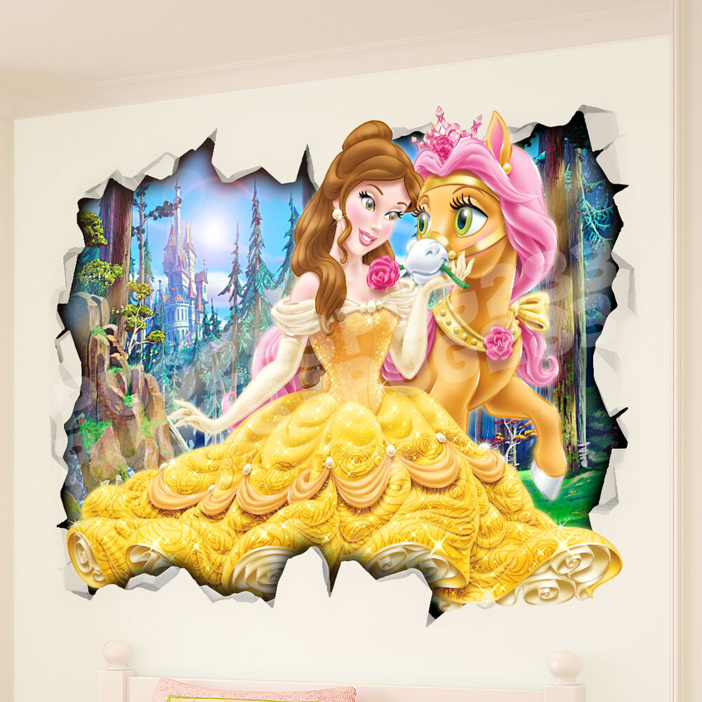 Belle Disney Princess 3D Wall Vinyl Poster Sticker Mural