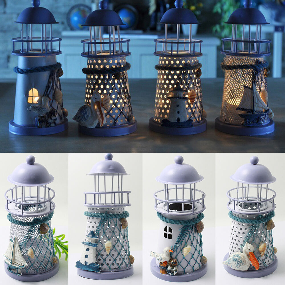 Mediterranean Style LightHouse Candlestick Candle Holder