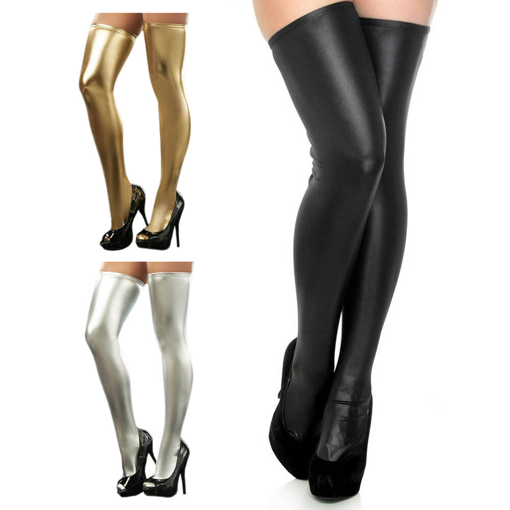 2ed58d5d6f6 Womens Sexy Lingerie PU Leather PVC Leggings Stockings Thigh High Wet Look  Socks. Please click the picture if you want to enlarge. item image ...
