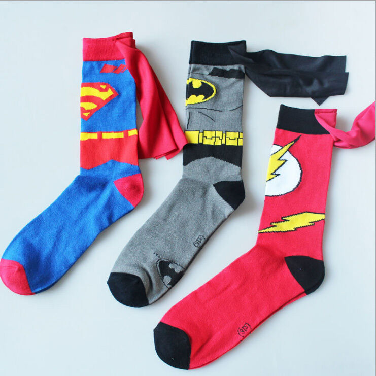 These superhero socks by Bioworld feature designs inspired by your favorite comic-book characters. Exciting comic book character adult crew socks.