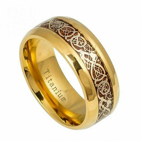 8mm Men Gold Titanium Royal Celtic Knot Dragon Koa Wood Inlay