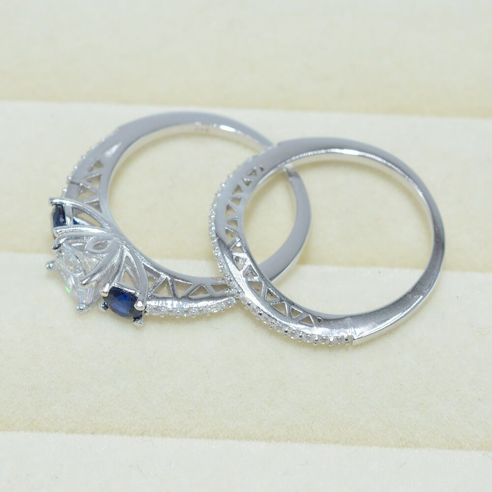 Fashion Diamonique CZ 925 Sterling Silver Engagement Wedding Ring Set Size 5