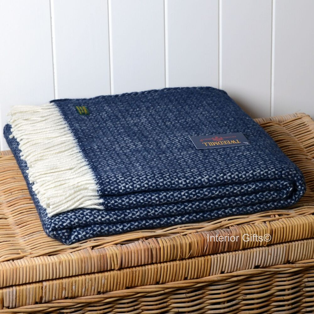 Pure new wool navy blue throw british quality blanket sofa bed rug ascot gift ebay Throw blankets for sofa