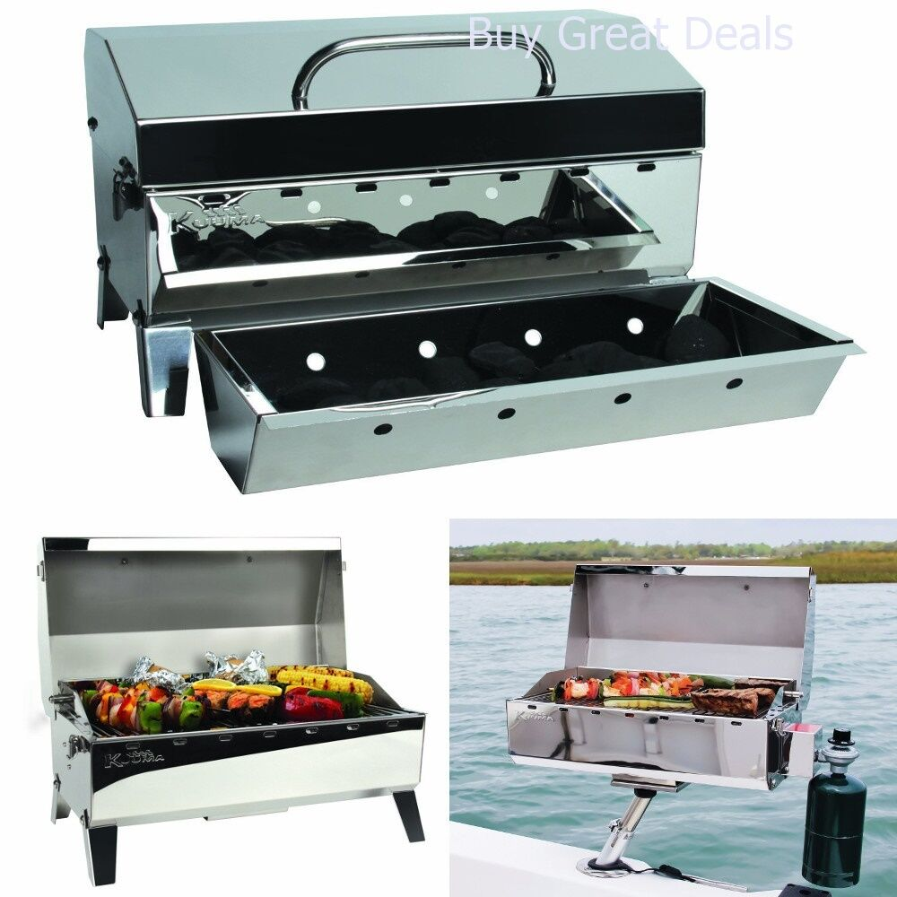 portable gas grill barbecue boat mount tailgating camp fish bbq stainless steel ebay. Black Bedroom Furniture Sets. Home Design Ideas