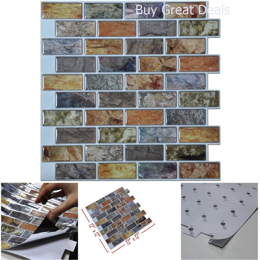 Kitchen Wall Tile Backsplash: 3D Wall Art Bathroom Kitchen Backsplash Peel And Stick