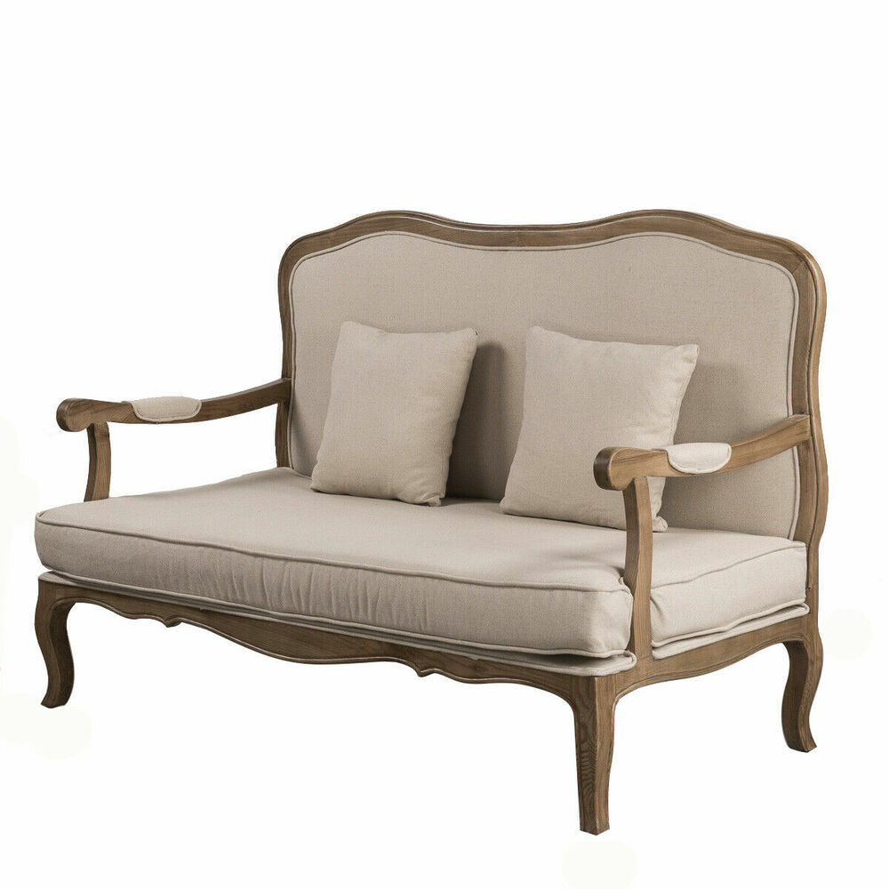 French provincial natural oak double sofa arm chair for French divan chair