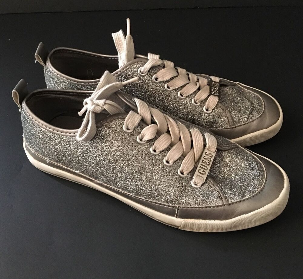 Guess Silver/White Logo Gray Glitter Tennis Shoes Lace Up ...