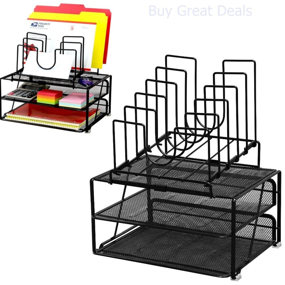 desk organizer shelf desk mesh organizer holder office pen black metal desktop 14685