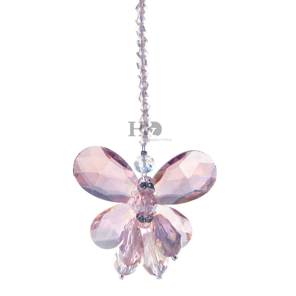 2pcs Chandelier Crystal Pink Buttterfly Lamp Prisms