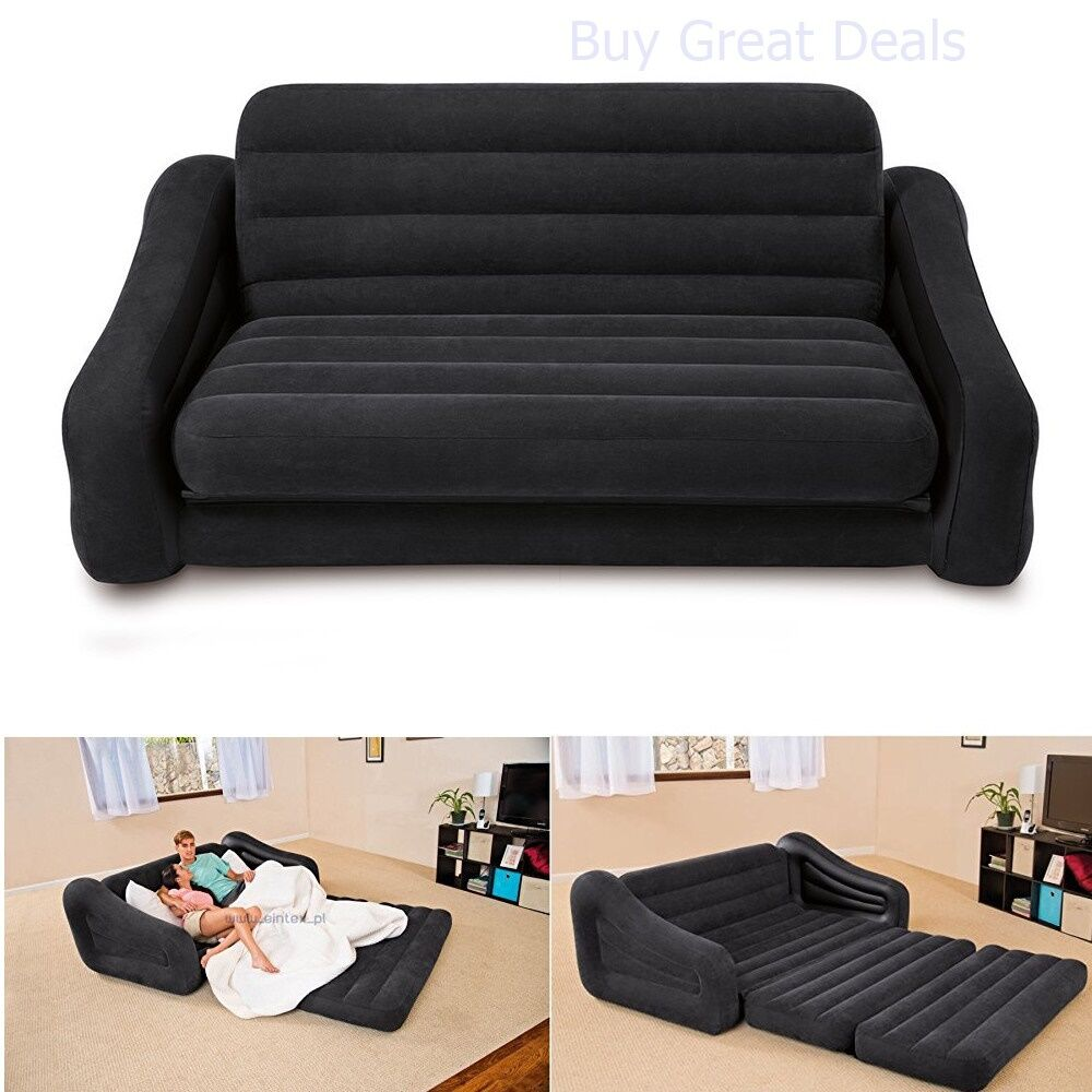 Pull Out Sofa Futon Queen Inflatable Bed Air Mattress Dorm