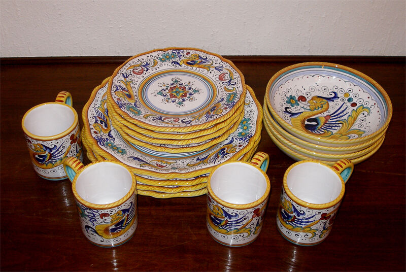 hand painted raffaellesco deruta dinnerware set 16 pcs ebay