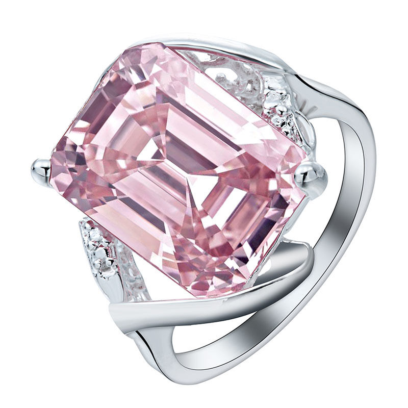 fashion pink sapphire ring 925 sterling silver