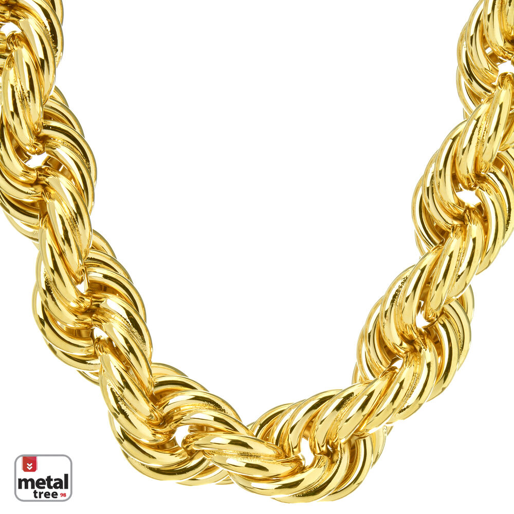 Hip Hop Men's Rapper 14K Gold Plated Hollow Chunky Rope ...
