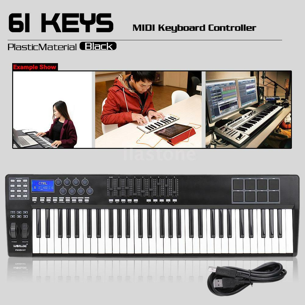 pro panda61 61 key usb midi keyboard controller 8 drum pads usb cable kit set 721047726554 ebay. Black Bedroom Furniture Sets. Home Design Ideas