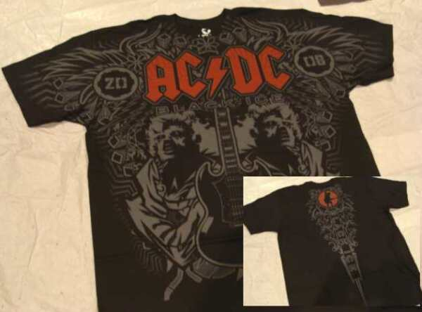 T-Shirt ACDC DUO Angus - Black Ice - Taille L ou XXL import USA