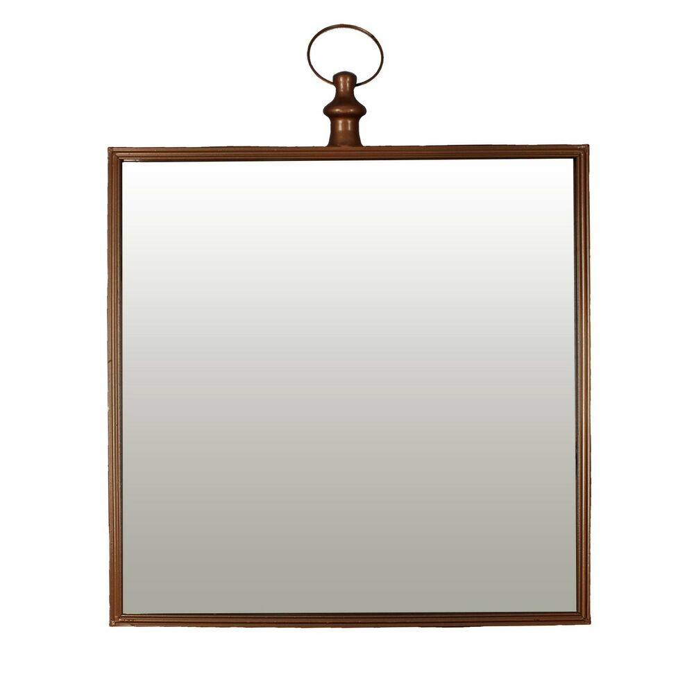 Hesita large square fob watch style copper coloured wall for Big square wall mirror