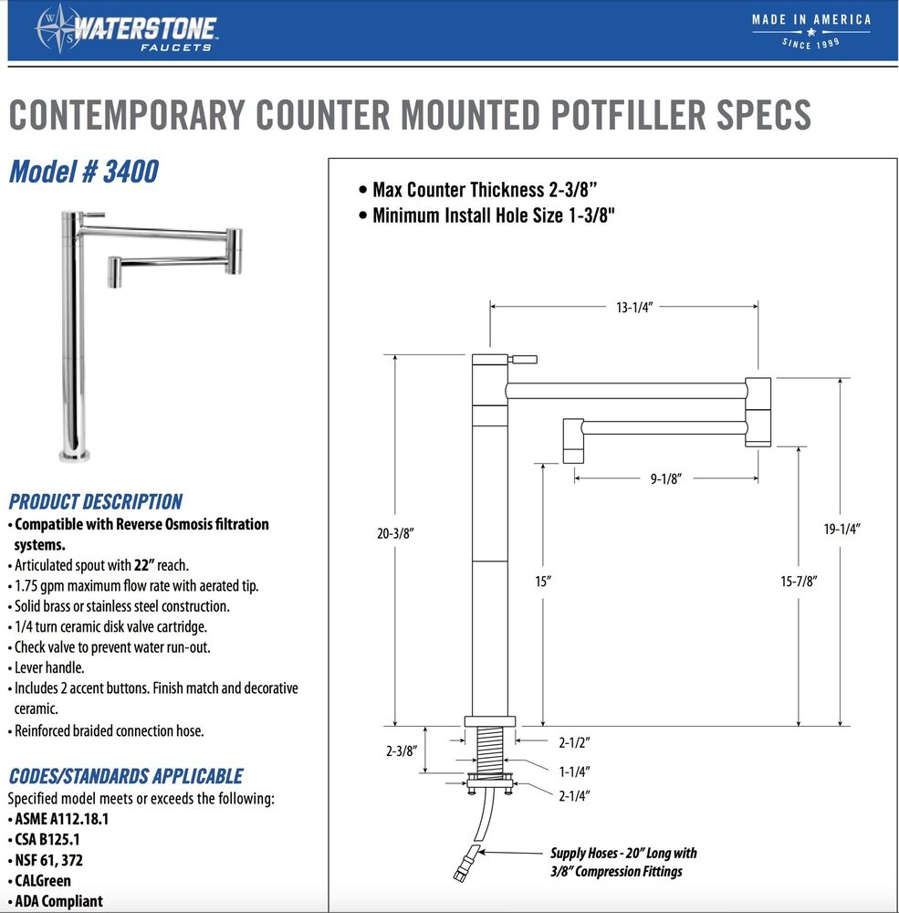 Waterstone Contemporary Counter Deck Mounted Pot Filler Faucet Antique Pewter Ebay