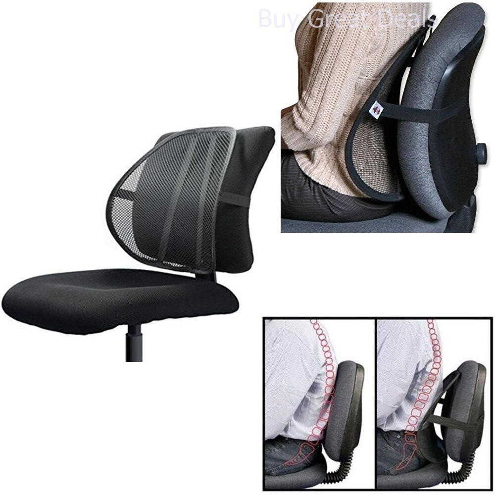 lumbar support for office chair car mesh back pain relief posture corrector desk 706695514029 ebay. Black Bedroom Furniture Sets. Home Design Ideas